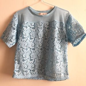 Baby blue lace top